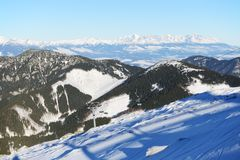The view on High Tatras mountains in Jasna Low Tatras stock photography