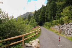 View of the High Tatras Mountains, Slovakia. View of the High Tatras Mountains and path, Slovakia stock photo