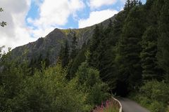 View of the High Tatras Mountains, Slovakia. View of the High Tatras Mountains and path, Slovakia Stock Image