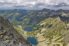 View of High Tatras mountains and tarns Royalty Free Stock Photography