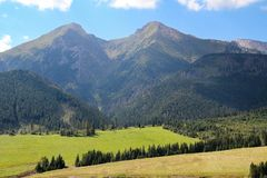 View of the High Tatras in Slovakia. With green field stock images