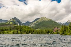 View on High Tatras in Slovakia from Strbske Pleso lake royalty free stock photography