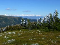 View of the High Tatras with snow-capped peaks, Low Tatras National park, Slovakia stock photo