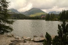 View of the High Tatras-Štrbské Pleso village National park in Slovakia. Štrbské pleso lake in the foreground stock photography