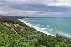 View from high to the beautiful beach and forest Royalty Free Stock Photos