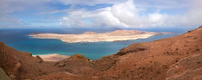 View from a high viewpoint at Lanzarote on the island la graciosa stock photography