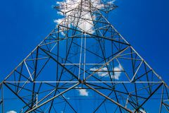 View of High voltage electric pole stock photography