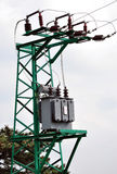 View of the high voltage transformer to a metal pole Stock Image