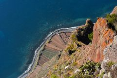 The cliff of Cabo Girao  seen  from viewpoint Royalty Free Stock Photography
