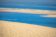 View from the highest dune in Europe - Dune of Pyla (Pilat), Arc. Achon Bay, Aquitaine, France Royalty Free Stock Image