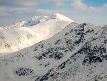 Snow covered mountain slopes in Low Tatras, Slovakia stock photo