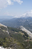 View from highest mountain. The Mausoleum of Njegosh, Montenegro Royalty Free Stock Photos