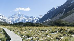 View of the highest peak of New Zealand - Mt. Cook, Valley Track stock images