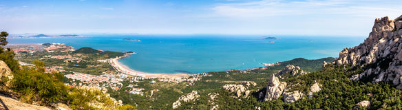 View from the highest platform in Yangkou trail, Laoshan. Mountain, Qingdao, China. Yang Kou is a beautiful trail where visitors can have a spectacular view of Royalty Free Stock Image