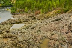 View from the highest point on the ancient volcano Girvas. Most ancient geological formation in the territory of Karelia stock photo