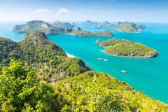 View from highest viewpoint of Angthong national marine park Royalty Free Stock Image