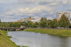 View of the Highland District of Kharkov from the Lopan River, U. KHARKOV, UKRAINE - SEPTEMBER 6, 2017: It is a view of the Highland District of the city from Stock Photography