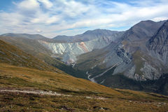 View from the highland pass Karaturek to the Altai Mountains with snowcaps Royalty Free Stock Image