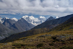 View from the highland pass Karaturek to the Altai Mountains with snowcaps Stock Photo