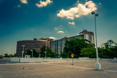 View of highrises from the top of the parking garage in Towson T. Own Center, Maryland royalty free stock photos