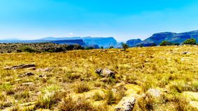View of the highveld and the Blyde River Canyon along the Panorama Route. In Mpumalanga Province of South Africa stock photography