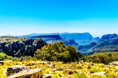 View of the highveld and the Blyde River Dam in the Blyde River Canyon Reserve. Along the Panorama Route in Mpumalanga Province of South Africa royalty free stock image