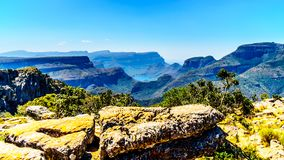 View of the highveld and the Blyde River Dam in the Blyde River Canyon Reserve. Along the Panorama Route in Mpumalanga Province of South Africa royalty free stock photos