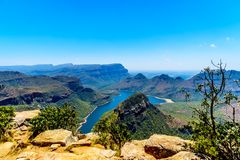 View of the highveld and the Blyde River Dam in the Blyde River Canyon Reserve Stock Photo