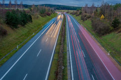 View on highway. Aerial view on highway with cars royalty free stock image