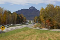 View on the highway with autumn colors Royalty Free Stock Photo