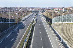 View of the highway from the bridge Stock Photography