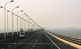 View on highway in China from island to mainland royalty free stock photo