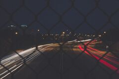 View of highway at night from a bridge Royalty Free Stock Photography