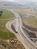View of highway from plane Royalty Free Stock Photo