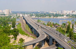 View of highway and railway bridges from a hill over the Dnieper Royalty Free Stock Photos