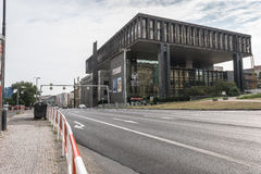A view of a highway road going through the Narodni Museum in Prague. A shot taken from the opposite side of the street going through the Narodni Museum in Prague Royalty Free Stock Photography