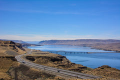 View of the highway running along the Columbia River from the viewpoint Wild Horse Monument, Washington Royalty Free Stock Images