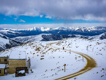 View of highway on the top of high mountain in Sichuan Royalty Free Stock Photography