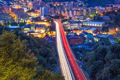 View on highway in the west part of Genoa by night, Italy. stock photo