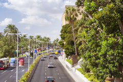 View of highways with modern pedestrian bridge. Alicante, Spain Stock Image