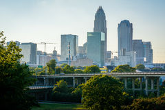 View of highways and the Uptown Charlotte skyline, in Charlotte, Stock Photo