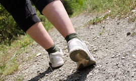 View of hiker legs walking on a path Stock Photography