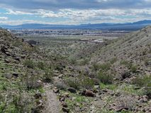 View from a hiking trail, Bullhead City, Arizona. Hiking trail above the Mohave Community College at Bullhead City, Arizona royalty free stock photography