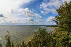 View from a hiking trail in Thiessow on the island Ruegen on the Baltic Sea royalty free stock images