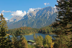 View from hiking trail to lake lautersee and karwendel Royalty Free Stock Photography