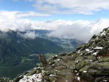 View from hiking trail to valley. Beautiful scenery during a hike in the mountains near Oetz, Austria royalty free stock photography