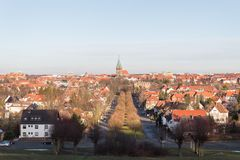 View of hildesheim german city church and rooftops stock photos