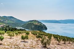 View from the hill on the Adriatic Sea in southern Croatia Stock Photography