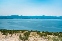 View from the hill on the Adriatic Sea in southern Croatia Stock Image
