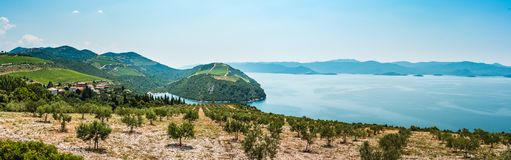 View from the hill on the Adriatic Sea in southern Croatia Stock Images